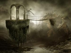 Wiszący most na latających skałach