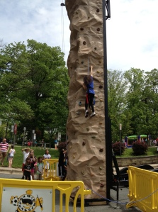 My baby on the climbing wall.